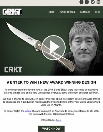 ENTER TO WIN | NEW AWARD WINNING DESIGN