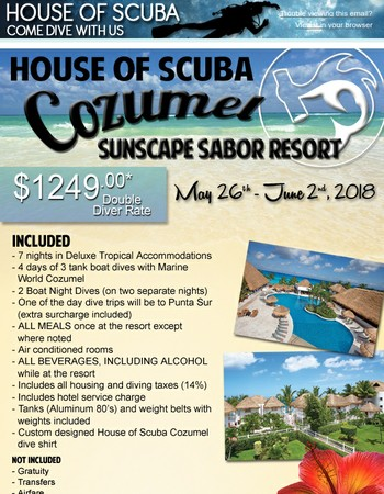 House of Scuba: Join us on our next dive adventure in Cozumel May 2018 Sunscape Sabor Resort - Payment Plans Available!