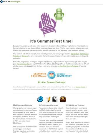 DEVONupdate: Join us for SummerFest! DEVONthink and DEVONagent for 25% off