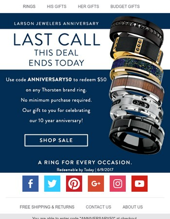 Final Call to Claim $50!  Larson Jewelers 10 Year Anniversary - Use Code ANNIVERASARY50 - Ends 6/9