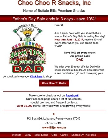 Fathers Day Sale Ending on Buffalo Bills Beef Jerky