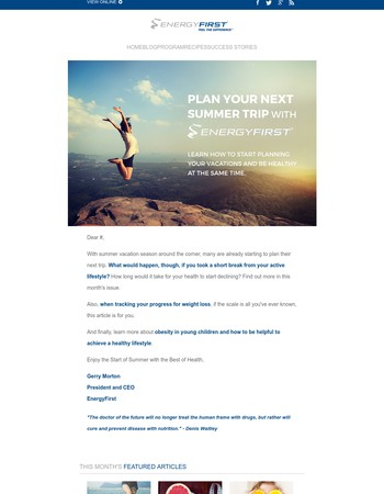 Plan your next Summer Trip with EnergyFirst!