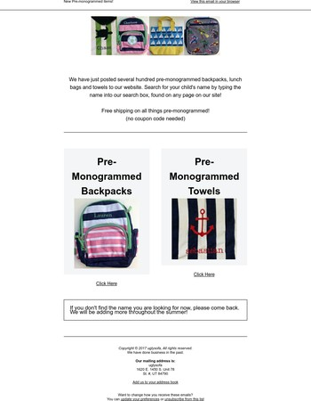 Kids' Backpacks and Towels Now Available - All pre-monogrammed
