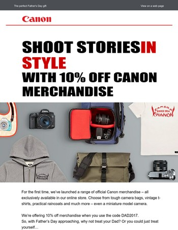 Mary, 10% off new exclusive Canon merchandise