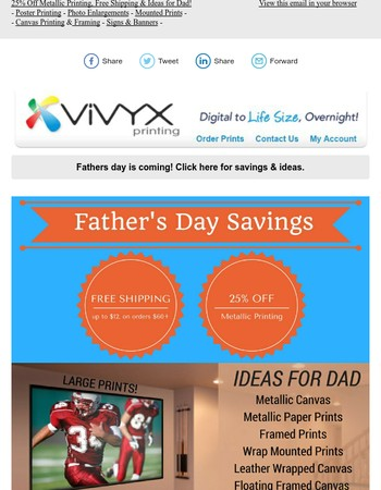 June Newsletter, Ideas for Dad, 25% Off Metallic Printing & Free Shipping!