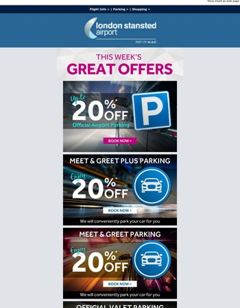 Book direct and save up to 20% on official airport parking