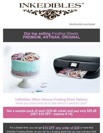 Premium | Artisan | Original: Get $10 OFF if you try all 3 frosting sheet sample packs (expires July 10)