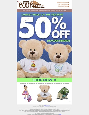 LAST DAY For 50% Off Bears and Plush!