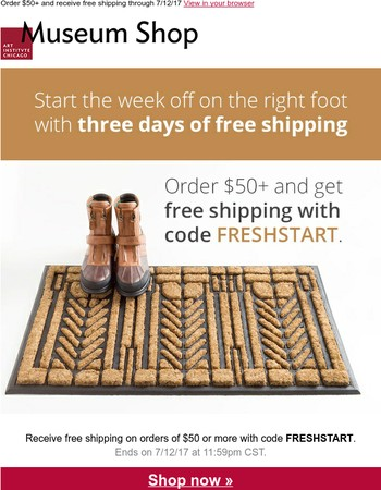 Start the week off with 3 days of free shipping