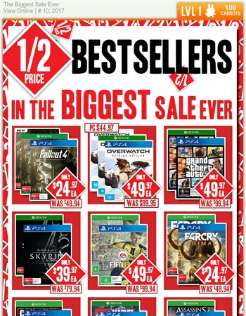 Half price bestselling games, loot and more!
