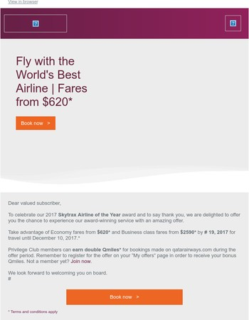 Fly with the World's Best Airline | Fares from $620*