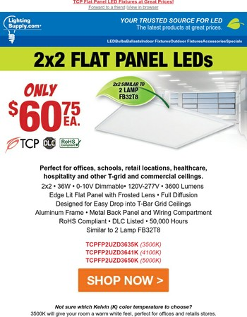 TCP Flat Panel LED Fixtures - Great Prices!
