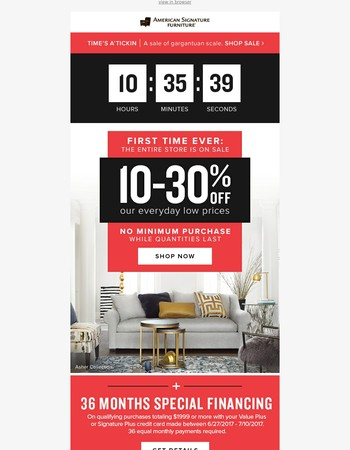 FINAL HOURS   Don't miss out on 10-30% storewide!
