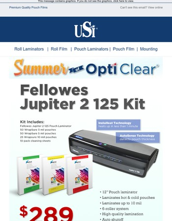 Summer of Opti Clear Kick-Off - Fellowes Jupiter 2 Laminator & Film combo