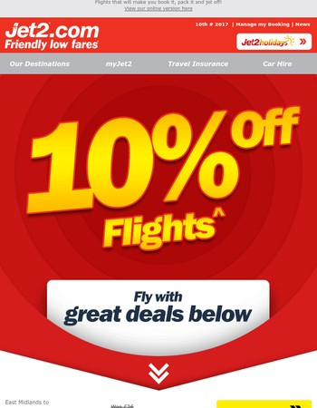 ✈ Soak up the sun for less with 10% off flights!