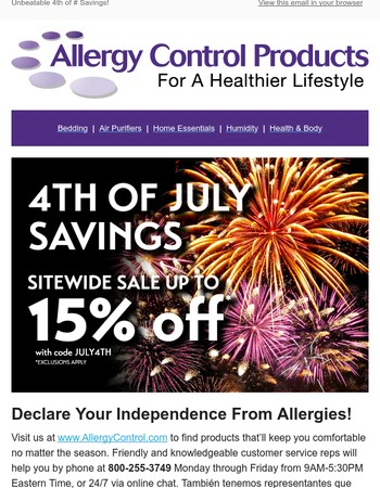 HURRY!! ONLY 3 DAYS LEFT TO SAVE 15%!! *Sitewide July 4th Sale with Allergy Control Products!