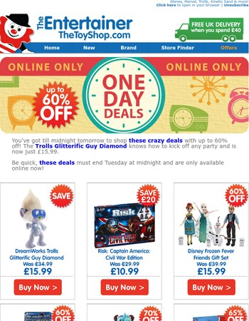 One Day Deals - up to 60% off!