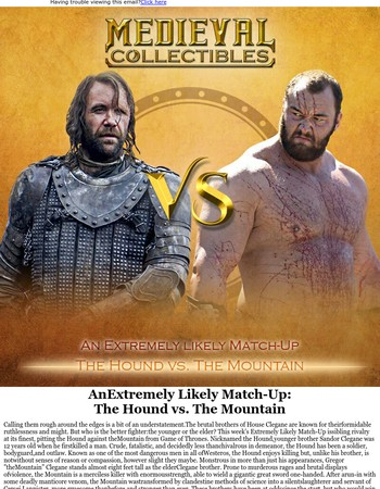 The Cleganebowl - An Extremely Likely Match-Up from Medieval Collectibles