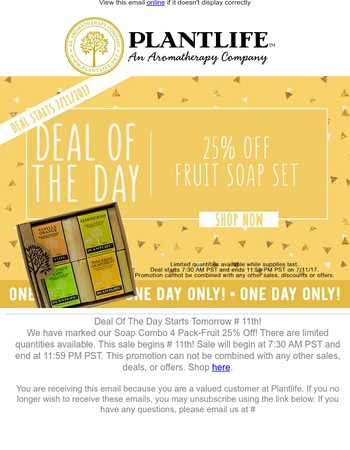 Deal Of The Day Starts Tomorrow July 11th☼