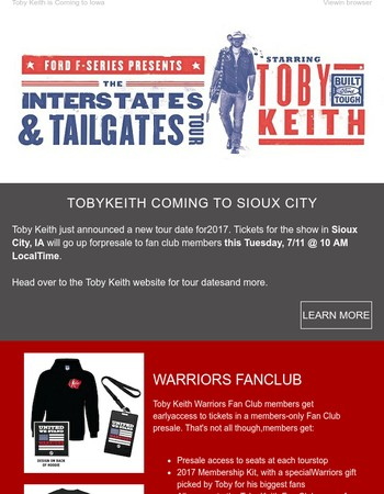 Toby Keith Newsletter