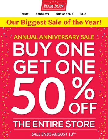 BOGO 50% Off The Entire Store! Our Biggest Sale Of The Year