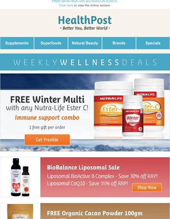 Your Weekly Wellness Deals: Nutra-Life, BioBalance, Natava, Weleda & more!