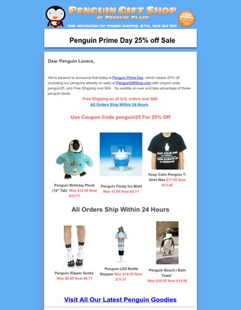 Penguin Prime Day 25% Off & Free Shipping Sale