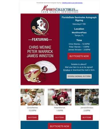 Last chance to Pre-Order Autograph Tickets for FSU Legends signing event - July 15th