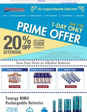 See Our Special PRIME Offer - One Day Only!