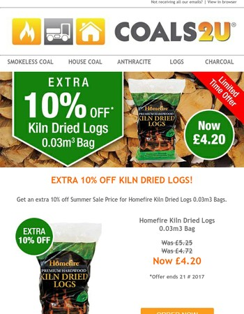 LIMITED TIME OFFER! Get Extra 10% off Summer Sale Price on Kiln Dried Logs!