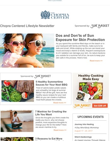Chopra Lifestyle: 7 Mantras for Creating the Life You Want; 5 Healthy Summer BBQ Sauces; and More…
