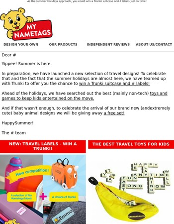 My Nametags summer newsletter - Win a Trunki and a free set of labels!