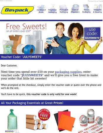 Free Sweets With Your Next Order!