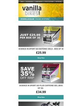 Science in Sport Go Gels Box of 30 just £25.99 / KMC X11EL Chain £23.98 / Shimano Ultegra R8000 Ltd Availability
