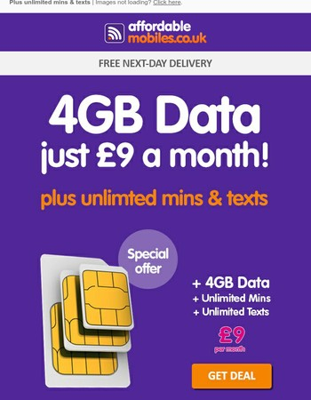 Get 4GB Data for Just £9 a Month