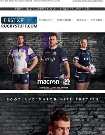 Pre-order the 2017/18 Macron Scotland Home and Away Rugby Shirts