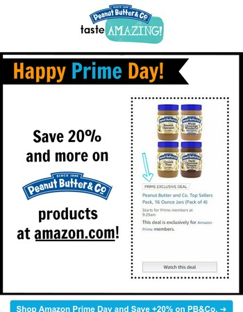 Shop Amazon's Prime Day and save +20% on PB&Co. products!