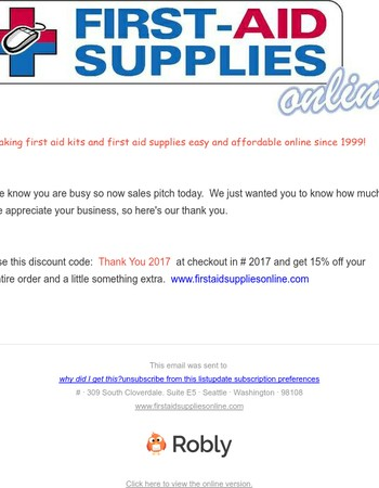 Thank you from First Aid Supplies Online