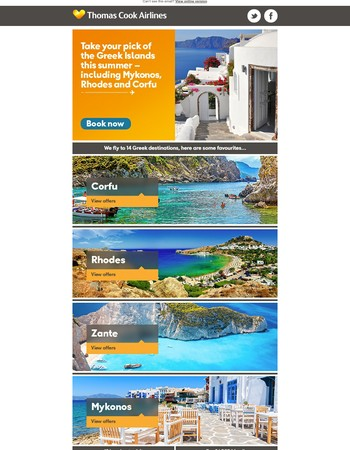 Fly to one of 14 of our Greek destinations from £33.99 one way