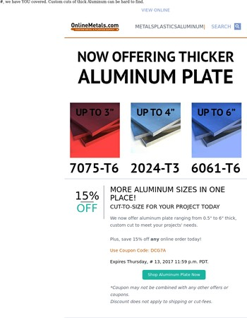 Thicker Aluminum In-stock Now!