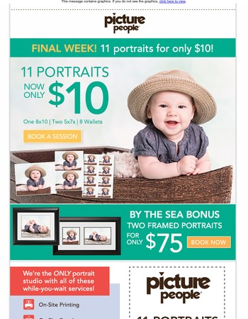 Hurry In! Last week- $10 for 11 Portraits!!