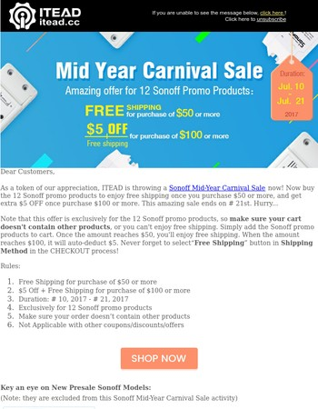 [ITEAD Studio] Sonoff Mid-Year Carnival Sale Time: Free Shipping +$5 OFF