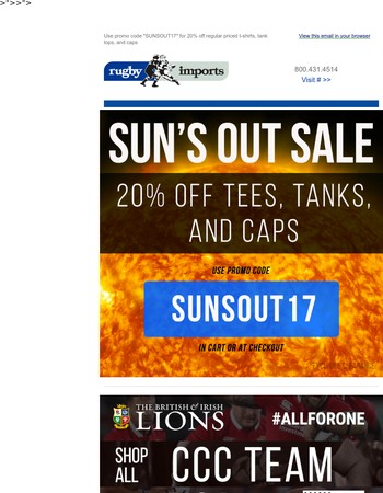 Sun's Out! 20% Off Tees, Tanks, and Caps!