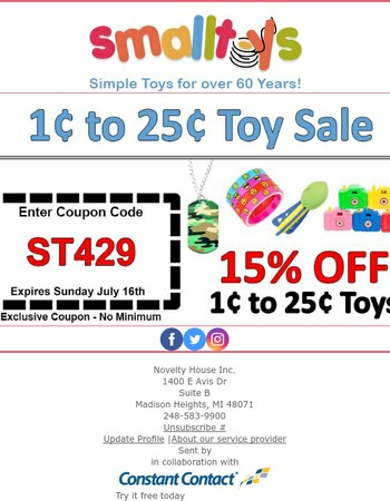 1 to 25¢ Toy Sale