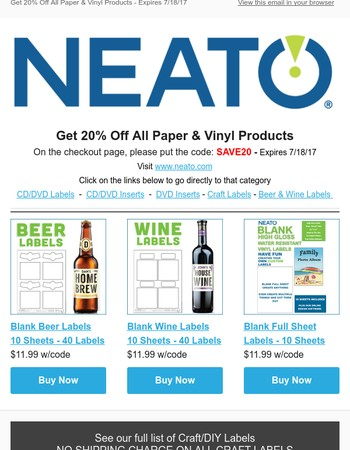 20% Off All Paper & Vinyl Products