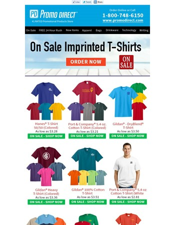On Sale Imprinted T-Shirts - Save Now!