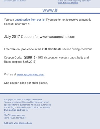 July Coupon for VacuumsInc.com