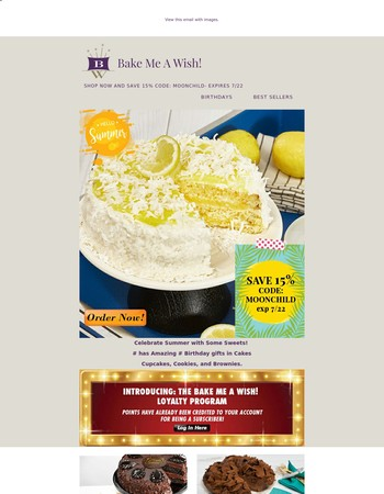 Save 15% on Summer Birthday Cake Delivery