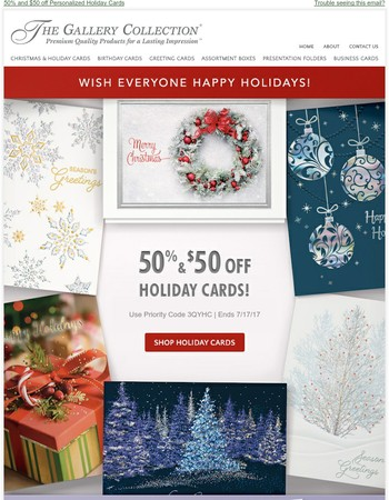 New Holiday Cards - Save 50% and $50 off!