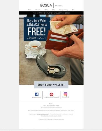 Buy a Euro Wallet, Get a Coin Purse Free!